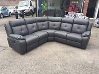 Grey leather 5-6 seater recliner corner sofa black brown