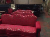 3+2+2 red and gold bed settee MINT USED NEEDA TO BE SOLD URGENT