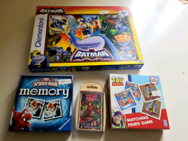 Jigsaws memory card games Batman Toy story Spiderman