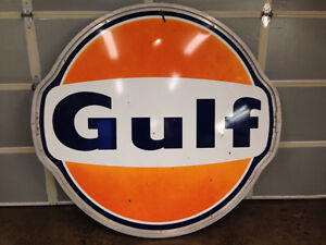 VERY RARE 6' GULF PORCILAIN DOUBLE SIDED SIGN