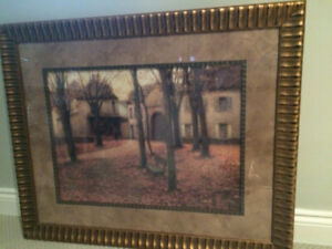 Large gold / bronze framed prints - Fall & Winter Impressionist