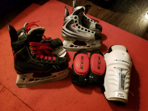 Youth hockey skates, and pads