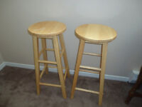 Two light wood stool