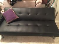 Black leather fouton / daybed