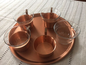 Vintage copper service with cups/tray