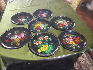 Fourteen (14) Hand Painted Metal Decorative Plates