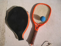 Vintage orange Voit Max  racquetball racket with case and ball
