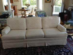 Leather couch and chair, white couch