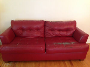Red Bonded-Leather Couch (a bit worn in places)