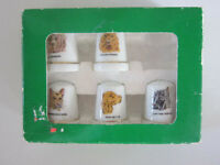 VINTAGE SET OF 5 THIMBLES WITH DOG PICTURES