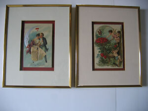 PAIR OF FRAMED ANTIQUE SWEETHEART POSTCARDS