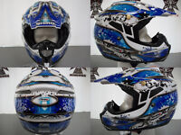 Brand New, Shiro MotoCross Helmet, (White/Blue), X-Large.