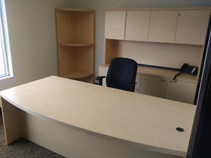 Office Desk with Credenza, Hutch and Bookcase - PRICE REDUCED