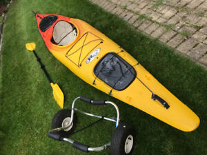 Riot Stealth kayak with Rudder and paddle and kayak cart