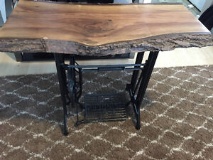 Antique Table - sewing machine base w live edge wood top