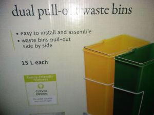Duel pull out garbage bins new in box install under counter top