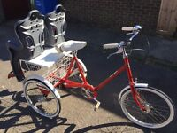 Vintage pashley adult tricycle , with child's seats
