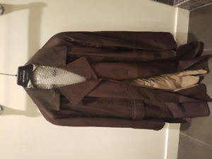 Authentic Emporio Armani Brown Leather Trench Coat