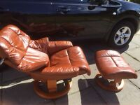 Ekornes Stressless Reno (M) reclining chair and stool in Havanna leather **BARGAIN PRICE **