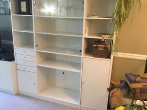 IKEA Cabinet with glass doors and four drawers
