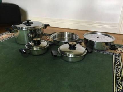 9 Piece Rena Ware Stainless Steel Pots