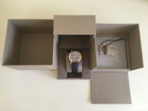Burberry Rose Gold Watch with Brown Leather Band (Pristine)