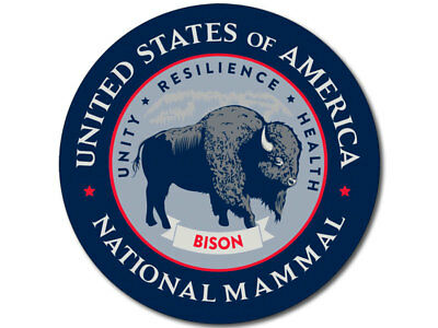 4X4 Round BISON United States America National Mammal Seal Sticker - buffalo us