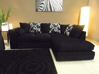 Fabric material Barcelona Corner sofa plain black with swirl cushions only for £269