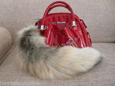 "20""Golden Natural Real Cosplay Fox Tail Keychain Fur Tassel Bag Tag US stock"