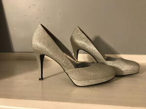 Silver Sparkly Heels size 8