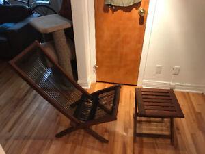 Chaise d'exterieur en corde avec table assortie