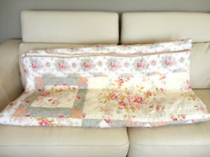 Pink Floral & White Bloomingdales Coverlet , Quilt 100% Cotton
