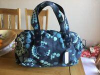Large blue flowered bag