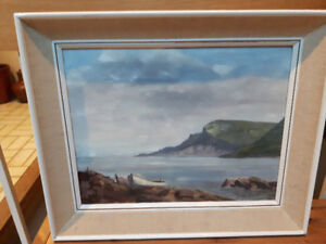 "An Old Vintage Oil Painting by Betsy Smith ""CARNLOUGH BAY"" sign"