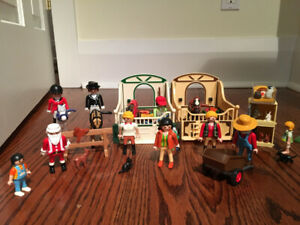 Playmobil,Horses, Riders, Tractor/Trailer, shower and farm equip