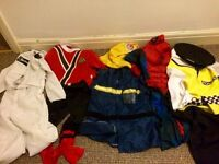 5 cosplay dressing up outfits 5-6 5-7 years Spiderman, police, fireman, power ranger, stig