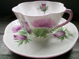 Vintage Shelley England Fine Bone China 'Thistle' Tea Cup/Saucer