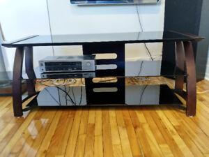 Meuble télé en bois et verre noir