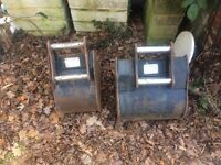 Two digger buckets with teeth