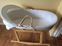 John Lewis Moses Basket , Rocking stand and 2 extra fitted sheets