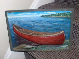 Wall decor , CANOE Wood carving ( 14 in by 10)