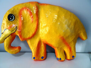 YELLOW ELEPHANTS ANYONE papier-mâché HAITI fabulous BABY'S ROOM Cambridge Kitchener Area image 1