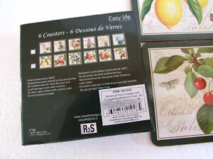 Brand new in box fruits theme cork backed set of 6 coasters London Ontario image 4