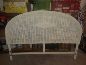 Wicker headboard and queen size bed frame