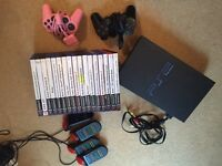 PS2 Play Station 2, 18 games wires etc