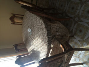 Antique 6 chairs with table