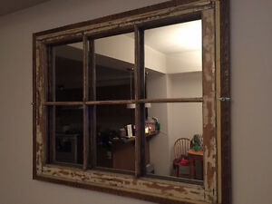 Old window pane mirror.TAKING ORDERS