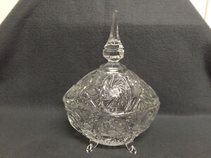 Collectible Antique Crystal Pinwheel Covered Candy Dish London Ontario image 2