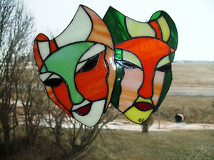 stained glass suncatcher Theater or Carnival mask