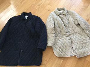 TWO LADY'S APPLESEED QUILTED 3/4 JACKETS SIZE 12-14